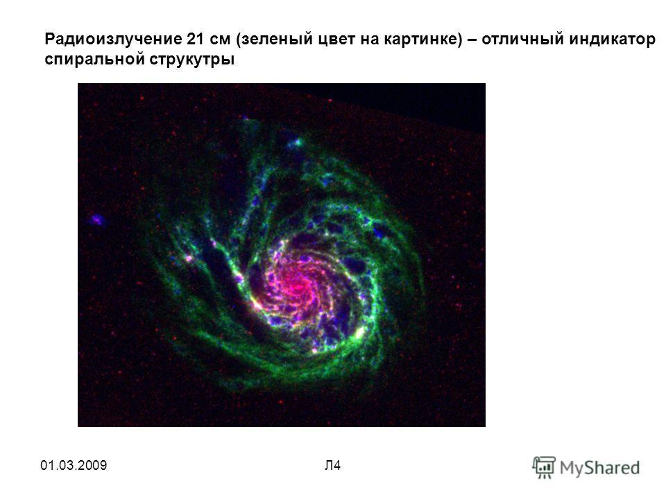01.03.2009Л4 Радиоизлучение 21 см (зеленый цвет на картинке) – отличный индикатор спиральной структуры