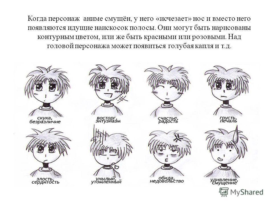 Когда персонаж аниме смущён, у него «исчезает» нос и вместо него появляются идущие наискосок полосы. Они могут быть нарисованы контурным цветом, или же быть красными или розовыми. Над головой персонажа может появиться голубая капля и т.д.