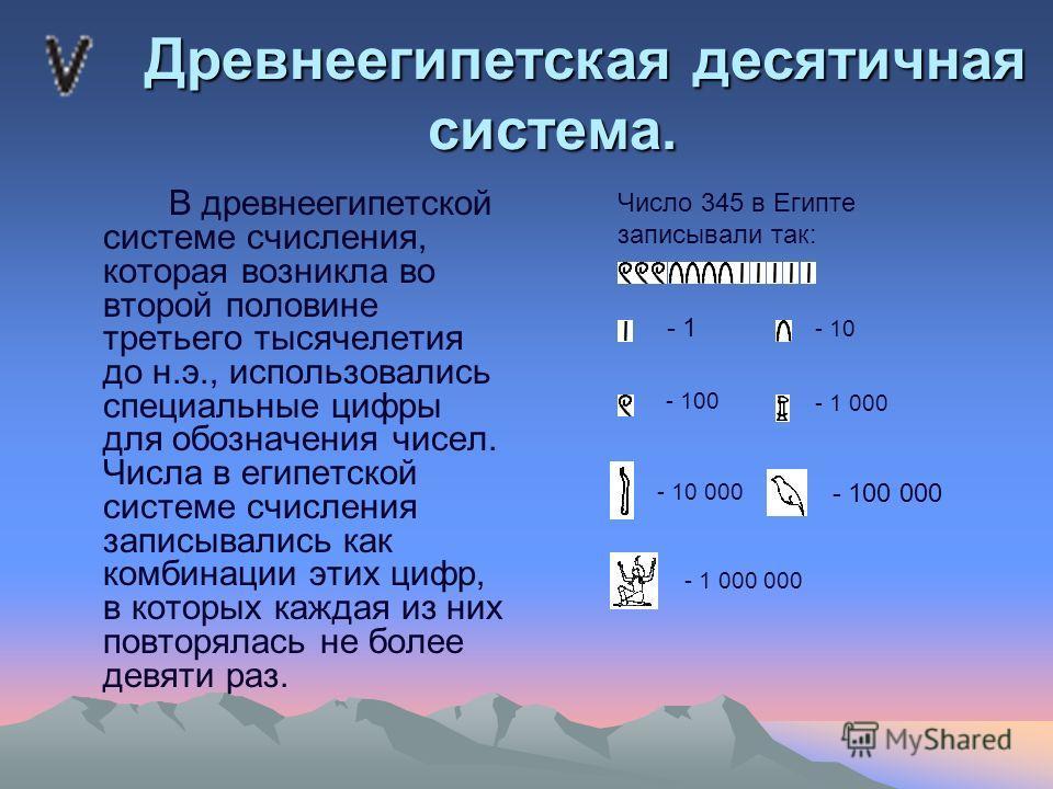 Древнеегипетская десятичная система. Древнеегипетская десятичная система. В древнеегипетской системе счисления, которая возникла во второй половине третьего тысячелетия до н.э., использовались специальные цифры для обозначения чисел. Числа в египетск