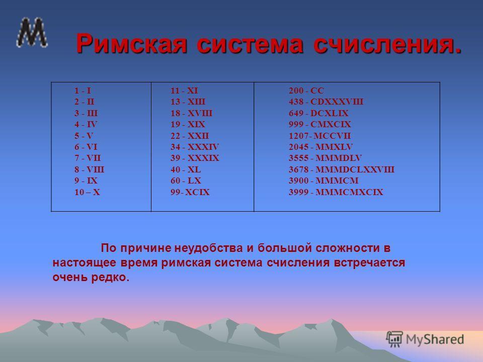 Римская система счисления. Римская система счисления. 1 - I 2 - II 3 - III 4 - IV 5 - V 6 - VI 7 - VII 8 - VIII 9 - IX 10 – X 11 - XI 13 - XIII 18 - XVIII 19 - XIX 22 - XXII 34 - XXXIV 39 - XXXIX 40 - XL 60 - LX 99- XCIX 200 - CC 438 - CDXXXVIII 649
