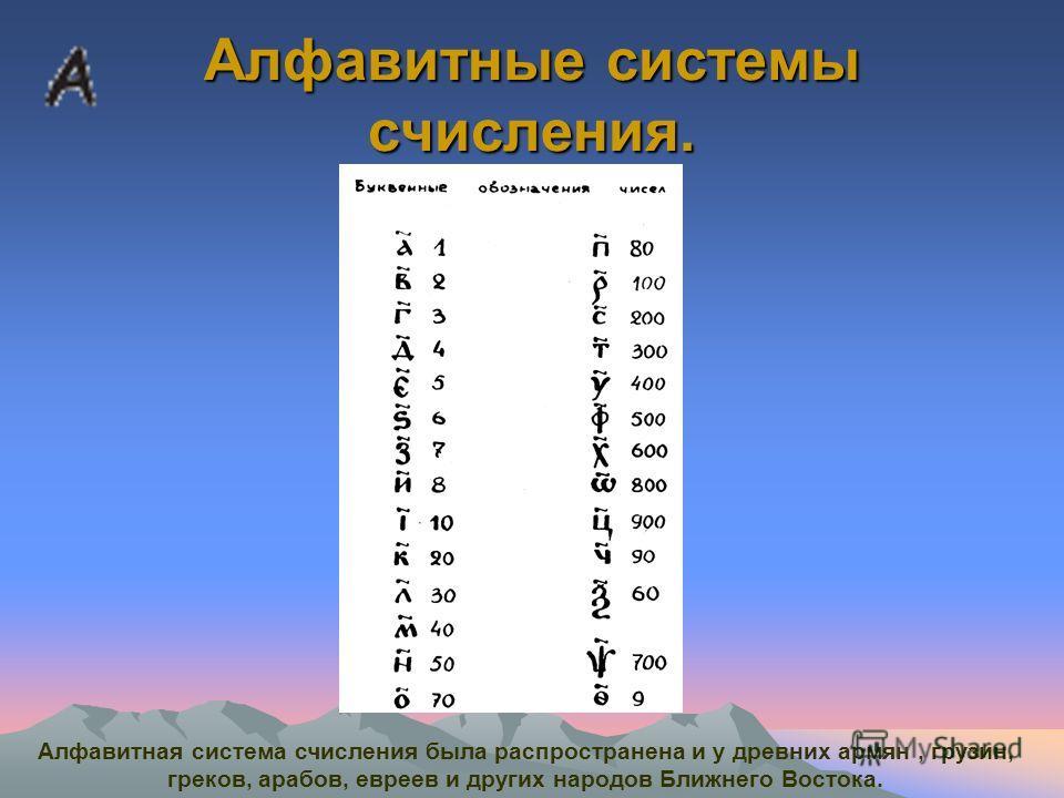 Алфавитные системы счисления. Алфавитная система счисления была распространена и у древних армян, грузин, греков, арабов, евреев и других народов Ближнего Востока.
