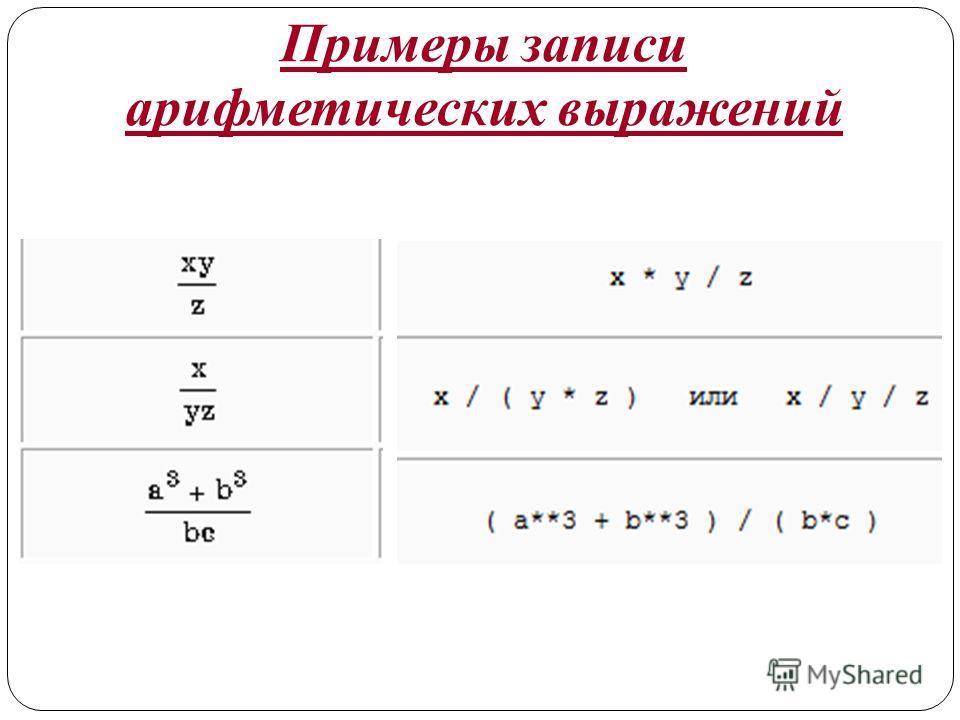 Примеры записи арифметических выражений
