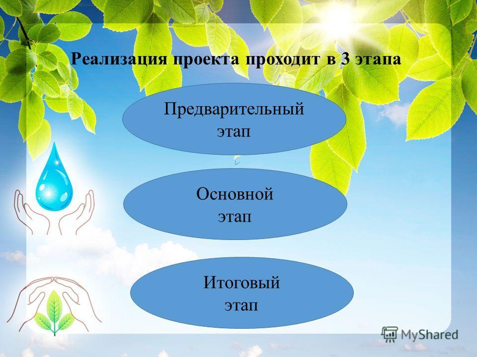 Реализация проекта проходит в 3 этапа Предварительный этап Основной этап Итоговый этап