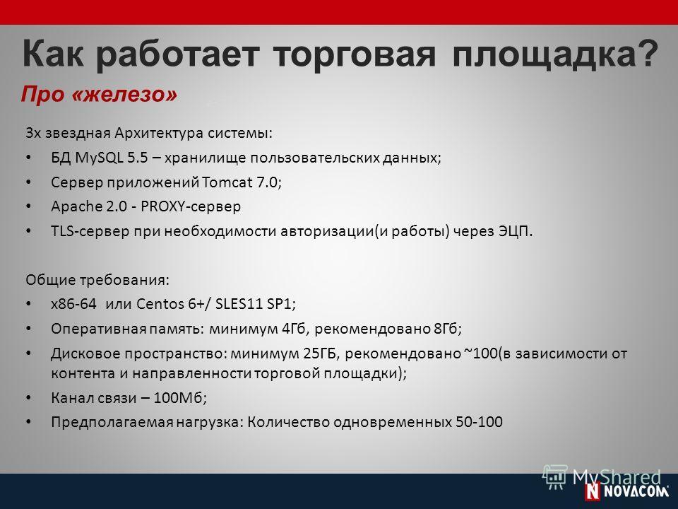 Как работает торговая площадка? Про «железо» 3 х звездная Архитектура системы: БД MySQL 5.5 – хранилище пользовательских данных; Сервер приложений Tomcat 7.0; Apache 2.0 - PROXY-сервер TLS-сервер при необходимости авторизации(и работы) через ЭЦП. Общ