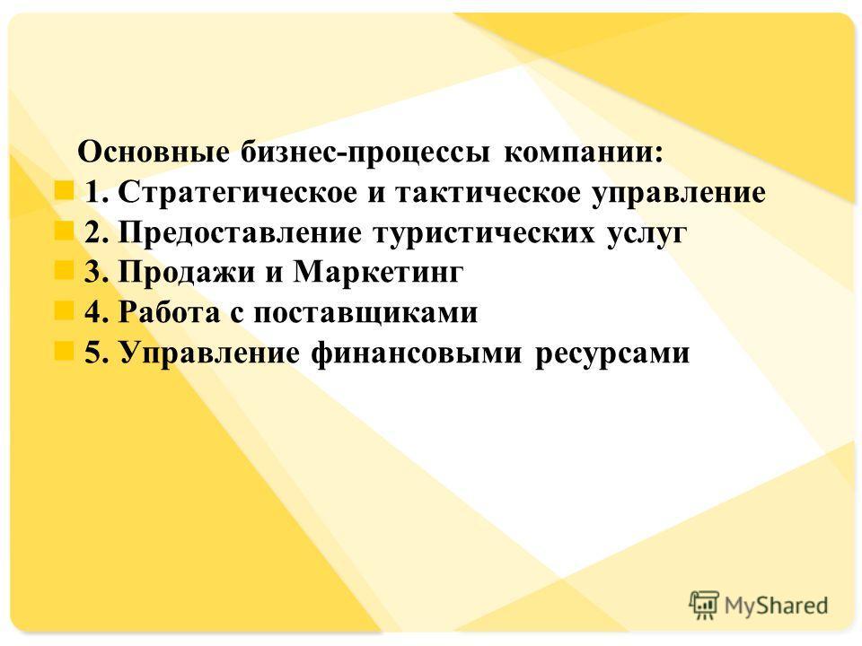 Основные бизнес-процессы компании: 1. Стратегическое и тактическое управление 2. Предоставление туристических услуг 3. Продажи и Маркетинг 4. Работа с поставщиками 5. Управление финансовыми ресурсами