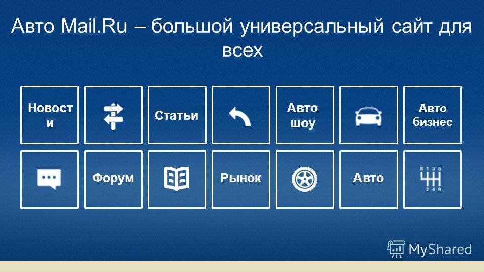 Авто Mail.Ru – большой универсальный сайт для всех Новост и Статьи Авто шоу Авто бизнес Рынок Форум
