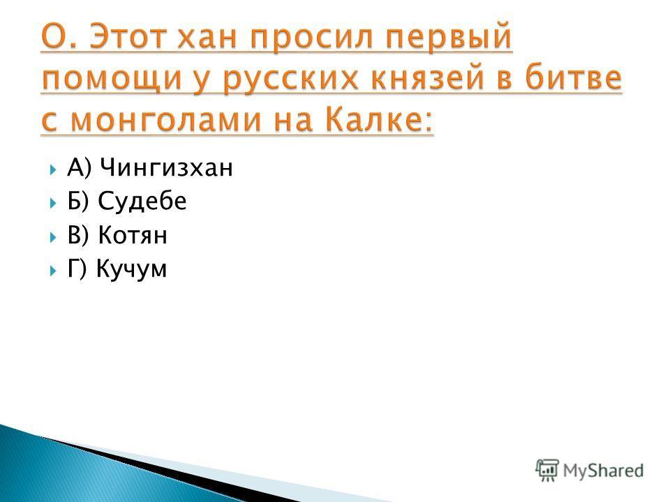 А) Чингизхан Б) Судебе В) Котян Г) Кучум