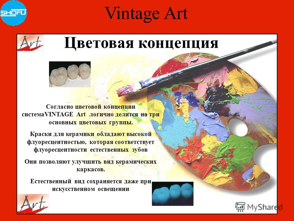 Vintage Art Цветовая концепция Согласно цветовой концепции системаVINTAGE Art логично делится на три основных цветовых группы. Краски для керамики обладают высокой флуоресцентностью, которая соответствует флуоресцентности естественных зубов Они позво