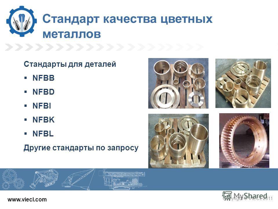 www.viecl.com Copyright © VIECL 2011 Стандарт качества цветных металлов Стандарты для деталей NFBB NFBD NFBI NFBK NFBL Другие стандарты по запросу