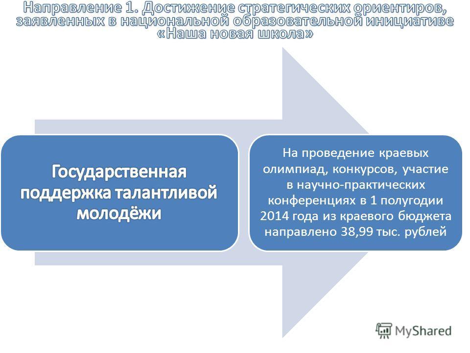 На проведение краевых олимпиад, конкурсов, участие в научно-практических конференциях в 1 полугодии 2014 года из краевого бюджета направлено 38,99 тыс. рублей