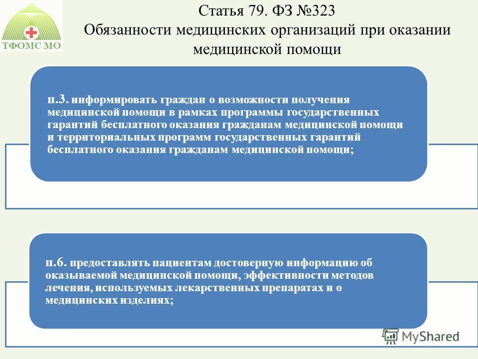Статья 79. ФЗ 323 Обязанности медицинских организаций при оказании медицинской помощи п.3. информировать граждан о возможности получения медицинской помощи в рамках программы государственных гарантий бесплатного оказания гражданам медицинской помощи