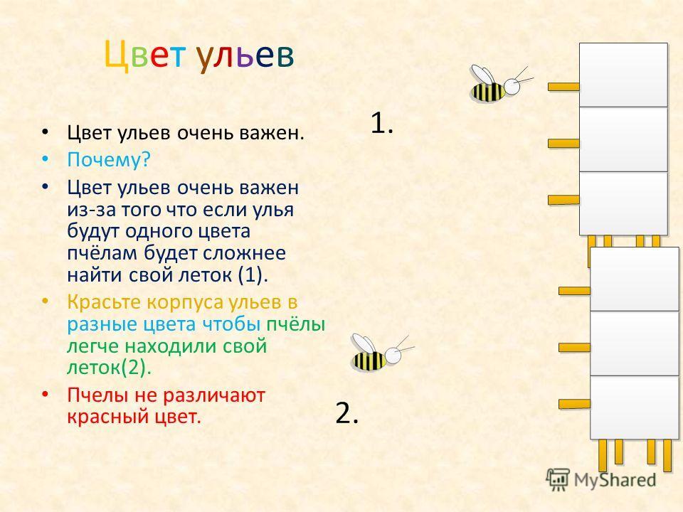 Цвет ульев Цвет ульев Цвет ульев очень важен. Почему? Цвет ульев очень важен из-за того что если улья будут одного цвета пчёлам будет сложнее найти свой леток (1). Красьте корпуса ульев в разные цвета чтобы пчёлы легче находили свой леток(2). Пчелы н