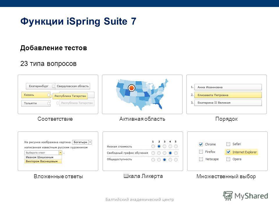 Добавление тестов 23 типа вопросов Соответствие Активная область Порядок Вложенные ответы Шкала Ликерта Множественный выбор Балтийский академический центр Функции iSpring Suite 7