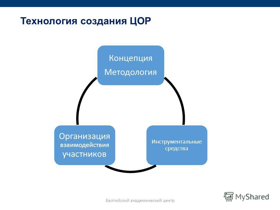 Технология создания ЦОР Концепция Методология Инструментальные средства Организация взаимодействия участников Балтийский академический центр