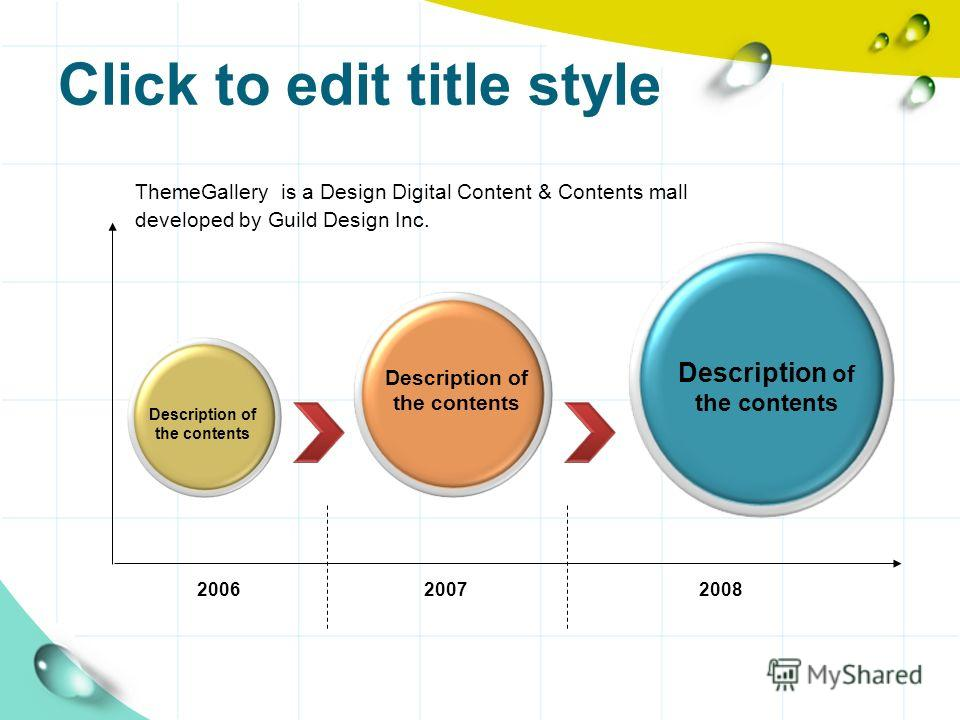 Click to edit title style ThemeGallery is a Design Digital Content & Contents mall developed by Guild Design Inc. Description of the contents 200620072008