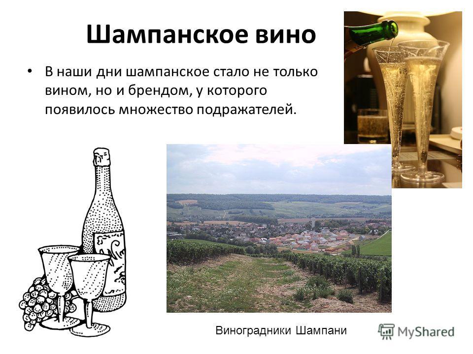 Шампанское вино В наши дни шампанское стало не только вином, но и брендом, у которого появилось множество подражателей. Виноградники Шампани