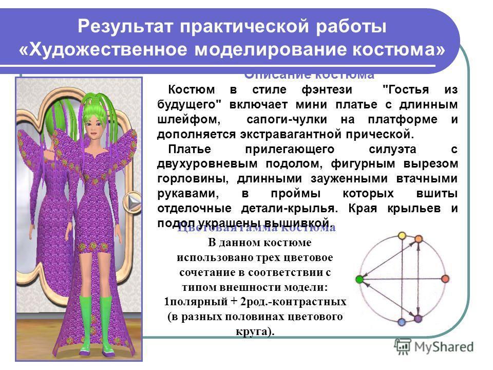 Результат практической работы «Художественное моделирование костюма» Цветовая гамма костюма В данном костюме использовано трех цветовое сочетание в соответствии с типом внешности модели: 1 полярный + 2 род.-контрастных (в разных половинах цветового к