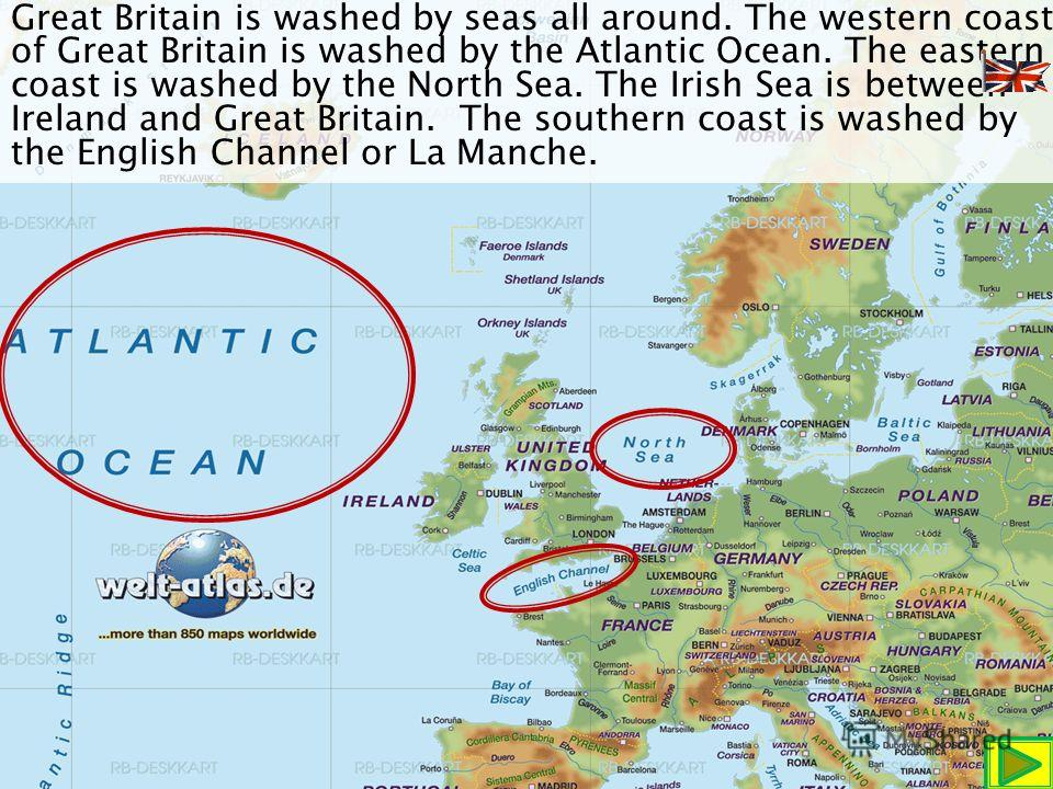 Great Britain is an island that lies off the north west of Europe. It is the largest island of Europe. It is 500 km wide and nearly 1,000 km long.