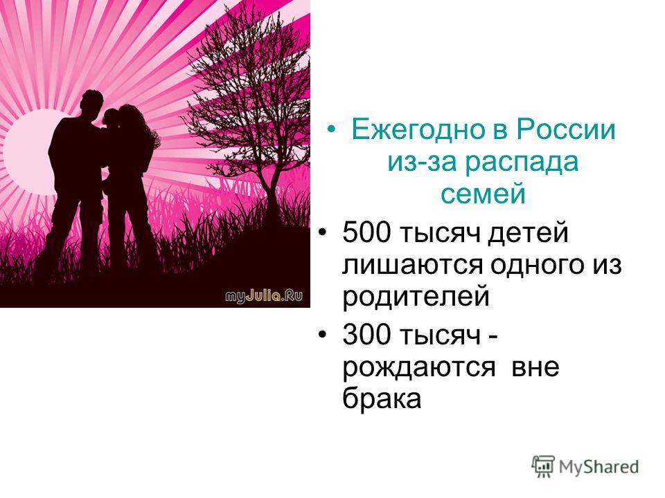 Ежегодно в России из-за распада семей 500 тысяч детей лишаются одного из родителей 300 тысяч - рождаются вне брака