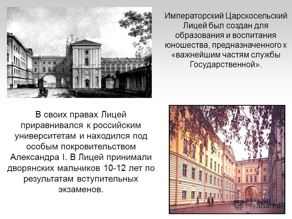 В своих правах Лицей приравнивался к российским университетам и находился под особым покровительством Александра I. В Лицей принимали дворянских мальчиков 10-12 лет по результатам вступительных экзаменов. Императорский Царскосельский Лицей был создан