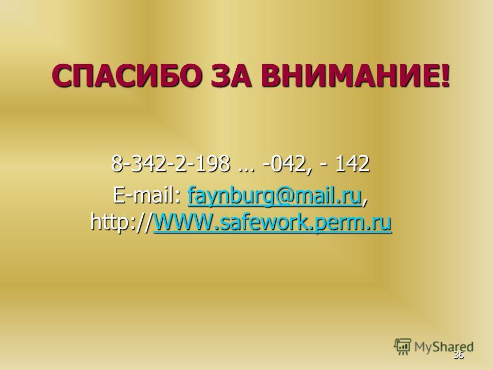 36 СПАСИБО ЗА ВНИМАНИЕ! 8-342-2-198 … -042, - 142 E-mail: faynburg@mail.ru, http://WWW.safework.perm.ru faynburg@mail.ruWWW.safework.perm.rufaynburg@mail.ruWWW.safework.perm.ru