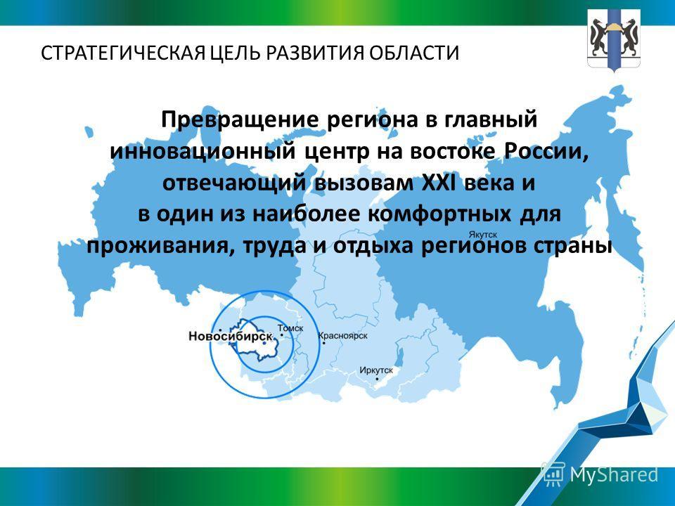 Превращение региона в главный инновационный центр на востоке России, отвечающий вызовам XXI века и в один из наиболее комфортных для проживания, труда и отдыха регионов страны СТРАТЕГИЧЕСКАЯ ЦЕЛЬ РАЗВИТИЯ ОБЛАСТИ