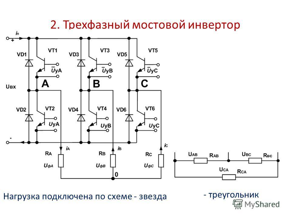 2. Трехфазный мостовой инвертор Нагрузка подключена по схеме - звезда - треугольник