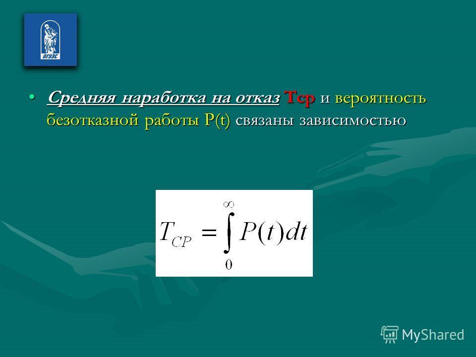 Средняя наработка на отказ Тср и вероятность безотказной работы P(t) связаны зависимостью Средняя наработка на отказ Тср и вероятность безотказной работы P(t) связаны зависимостью