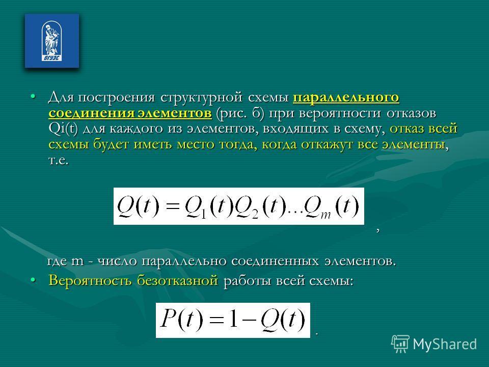 Для построения структурной схемы параллельного соединения элементов (рис. б) при вероятности отказов Qi(t) для каждого из элементов, входящих в схему, отказ всей схемы будет иметь место тогда, когда откажут все элементы, т.е.Для построения структурно