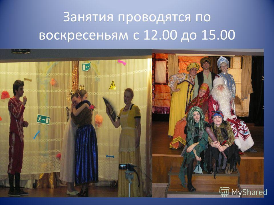 Занятия проводятся по воскресеньям с 12.00 до 15.00