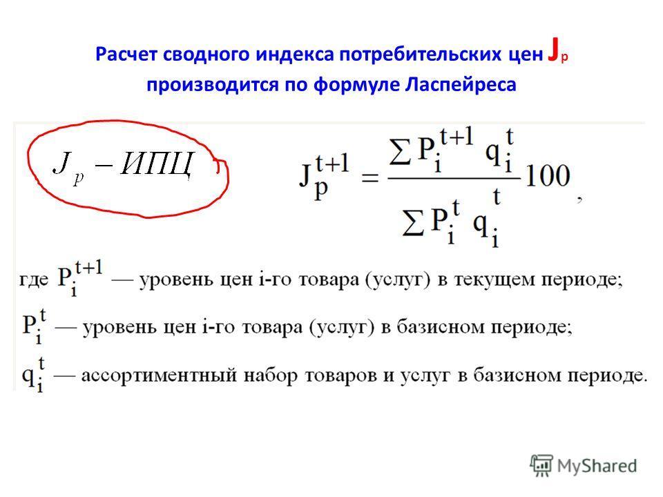 Расчет сводного индекса потребительских цен J p производится по формуле Ласпейреса
