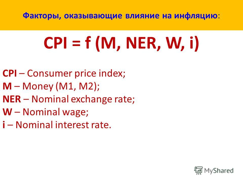 Факторы, оказывающие влияние на инфляцию: СPI = f (M, NER, W, i) CPI – Consumer price index; M – Money (M1, M2); NER – Nominal exchange rate; W – Nominal wage; i – Nominal interest rate.