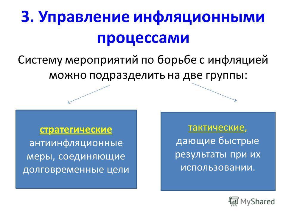 3. Управление инфляционными процессами Систему мероприятий по борьбе с инфляцией можно подразделить на две группы: стратегические антиинфляционные меры, соединяющие долговременные цели тактические, дающие быстрые результаты при их использовании.