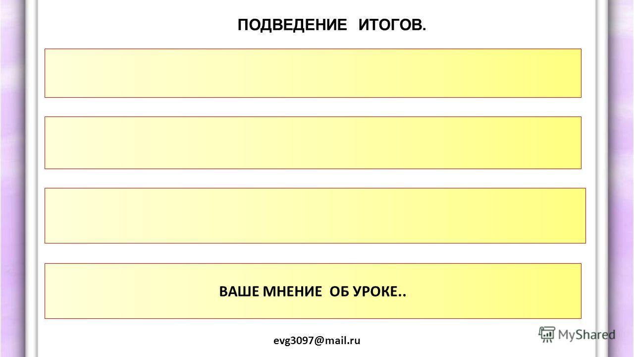ПОДВЕДЕНИЕ ИТОГОВ. evg3097@mail.ru ВАШЕ МНЕНИЕ ОБ УРОКЕ..