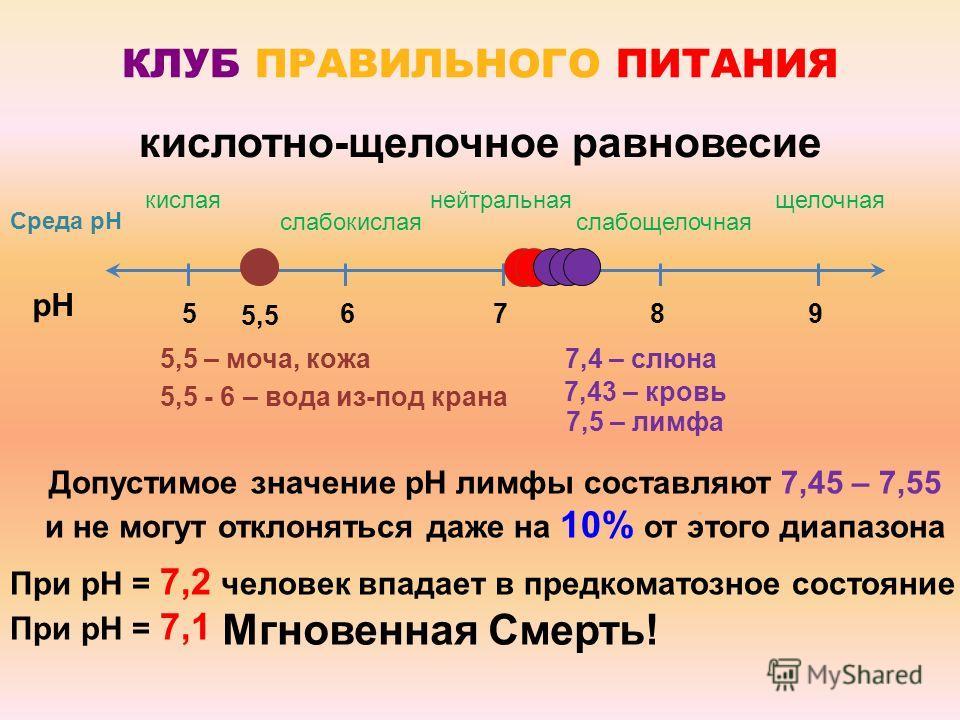 pH 5,5 кислотно-щелочное равновесие КЛУБ ПРАВИЛЬНОГО ПИТАНИЯ нейтральная 7 кислая 5 щелочная 98 слабощелочная 6 слабокислая 5,5 – моча, кожа 5,5 - 6 – вода из-под крана Допустимое значение pH лимфы составляют 7,45 – 7,55 и не могут отклоняться даже н