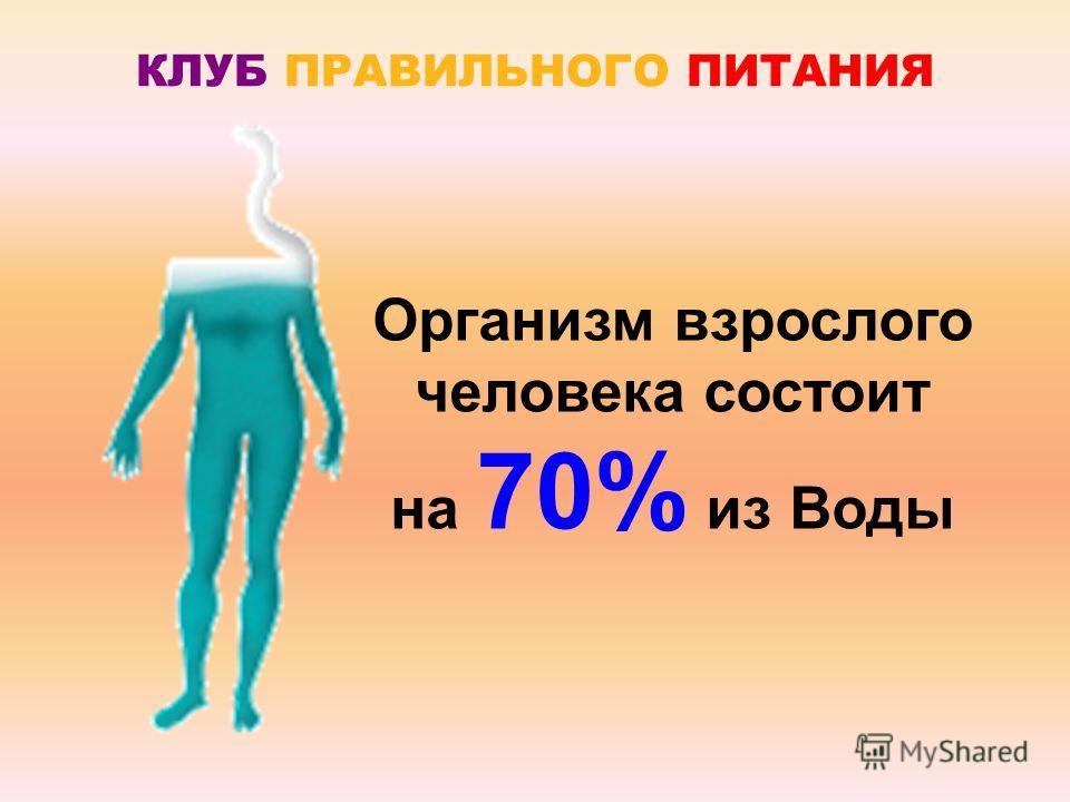 КЛУБ ПРАВИЛЬНОГО ПИТАНИЯ Организм взрослого человека состоит на 70% из Воды