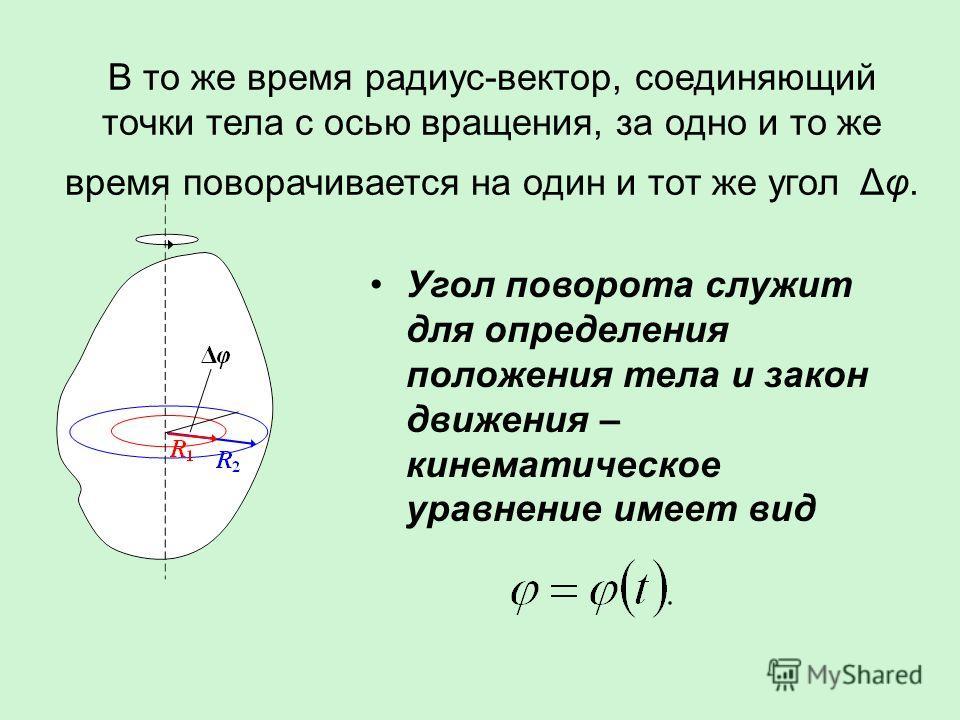 В то же время радиус-вектор, соединяющий точки тела с осью вращения, за одно и то же время поворачивается на один и тот же угол Δφ. Угол поворота служит для определения положения тела и закон движения – кинематическое уравнение имеет вид