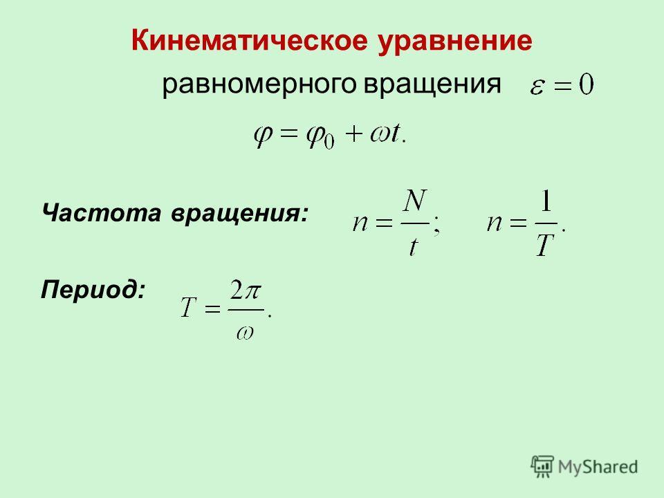 Кинематическое уравнение равномерного вращения Частота вращения: Период: