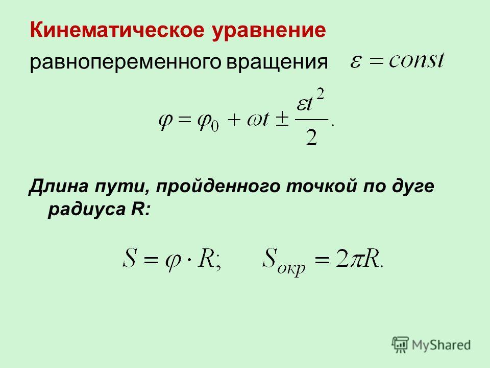 Кинематическое уравнение равнопеременного вращения Длина пути, пройденного точкой по дуге радиуса R: