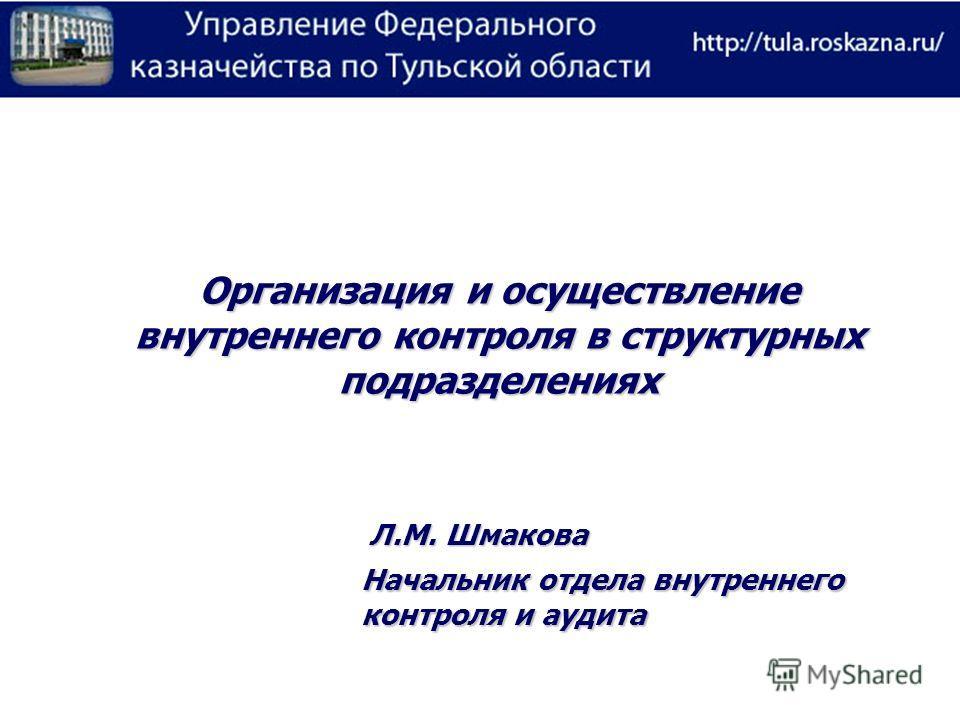 Организация и осуществление внутреннего контроля в структурных подразделениях Начальник отдела внутреннего контроля и аудита Л.М. Шмакова