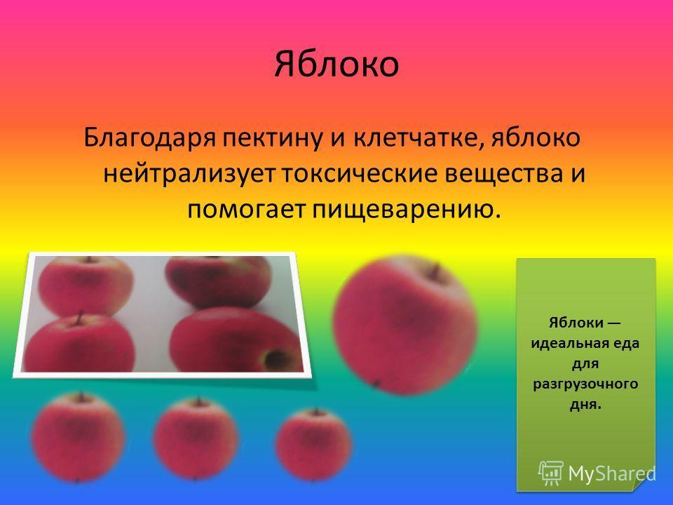 Яблоко Благодаря пектину и клетчатке, яблоко нейтрализует токсические вещества и помогает пищеварению. Яблоки идеальная еда для разгрузочного дня.
