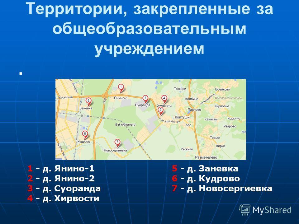 Территории, закрепленные за общеобразовательным учреждением. 1 - д. Янино-1 5 - д. Заневка 2 - д. Янино-2 6 - д. Кудрово 3 - д. Суоранда 7 - д. Новосергиевка 4 - д. Хирвости