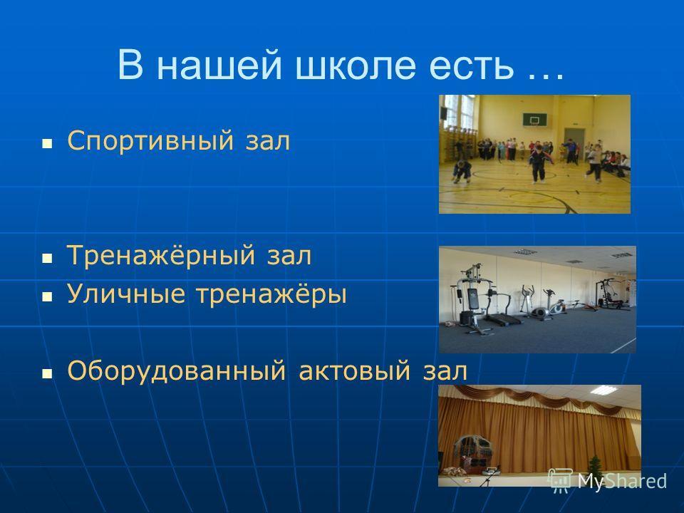 Спортивный зал Тренажёрный зал Уличные тренажёры Оборудованный актовый зал В нашей школе есть …