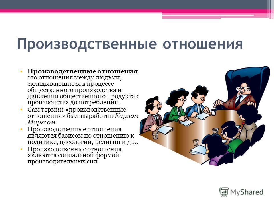 Производственные отношения Производственные отношения это отношения между людьми, складывающиеся в процессе общественного производства и движения общественного продукта от производства до потребления. Сам термин «производственные отношения» был выраб