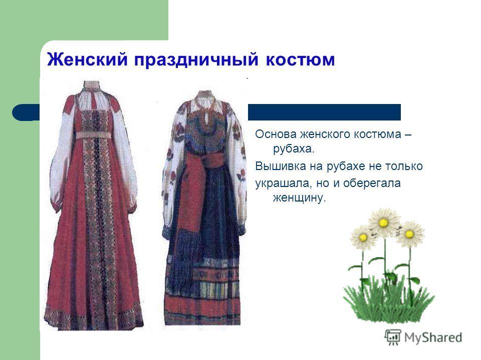 Женский праздничный костюм Основа женского костюма – рубаха. Вышивка на рубахе не только украшала, но и оберегала женщину.