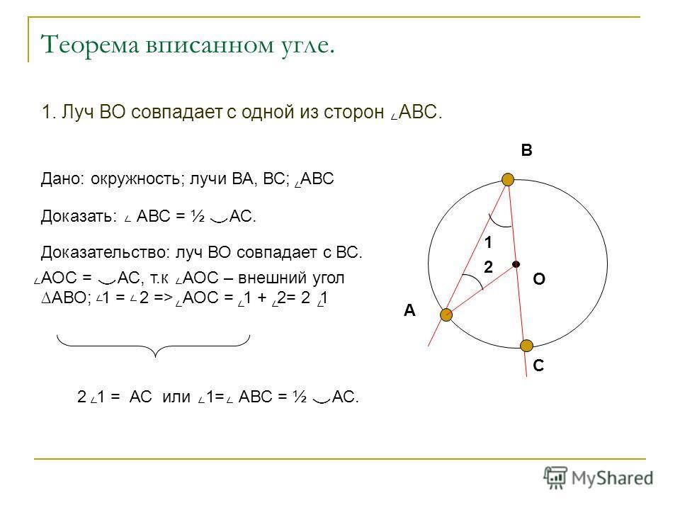 Дано: окружность; лучи ВА, ВС; АВС Доказать: АВС = ½ АС. Доказательство: луч ВО совпадает с ВС. АОС = АС, т.к АОС – внешний угол АВО; 1 = 2 => АОС = 1 + 2= 2 1 2 1 = АС или 1= АВС = ½ АС. О А В С 1 2 1. Луч ВО совпадает с одной из сторон АВС.