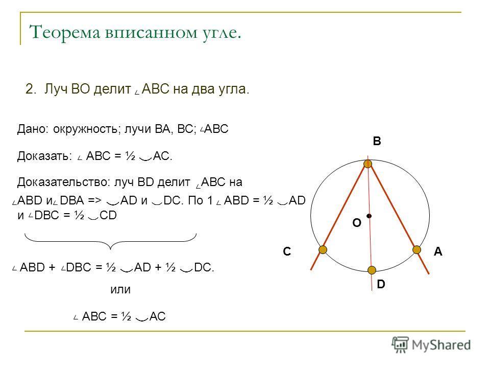 О А В С D АВD + DВC = ½ АD + ½ DC. или АВС = ½ АС Теорема вписанном угле. Дано: окружность; лучи ВА, ВС; АВС Доказать: АВС = ½ АС. Доказательство: луч ВD делит АВС на ABD и DВА => АD и DC. По 1 АВD = ½ АD и DВС = ½ СD 2. Луч ВО делит АВС на два угла.