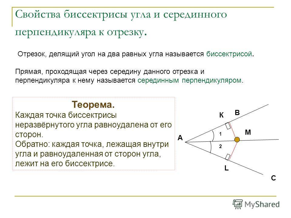 1 2 К В А С М L Теорема. Каждая точка биссектрисы неразвёрнутого угла равноудалена от его сторон. Обратно: каждая точка, лежащая внутри угла и равноудаленная от сторон угла, лежит на его биссектрисе. Свойства биссектрисы угла и серединного перпендику