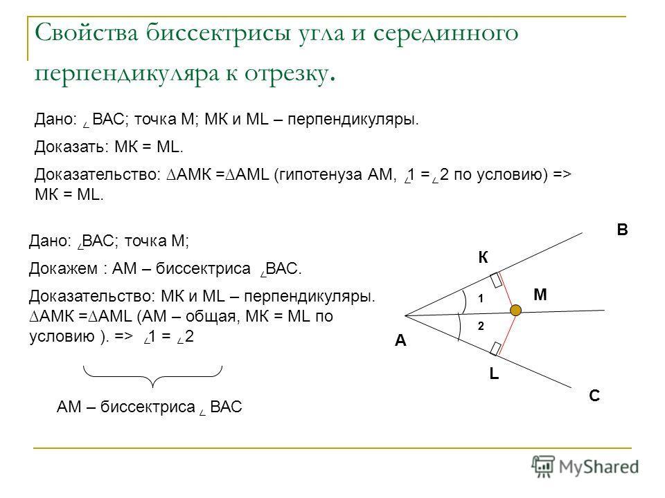 Свойства биссектрисы угла и серединного перпендикуляра к отрезку. 1 2 К В А С М L Дано: ВАС; точка М; МК и МL – перпендикуляры. Доказать: МК = ML. Доказательство: АМК =АМL (гипотенуза АМ, 1 = 2 по условию) => МК = ML. Дано: ВАС; точка М; Докажем : АМ