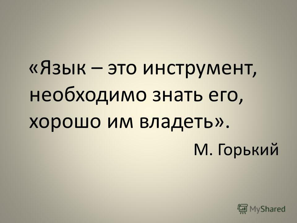 «Язык – это инструмент, необходимо знать его, хорошо им владеть». М. Горький